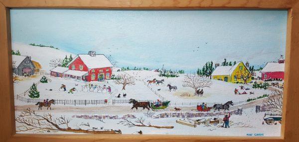 Chopping Wood - Original Folk Art Painting
