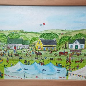 The Circus Comes to Town - Original Folk Art Painting