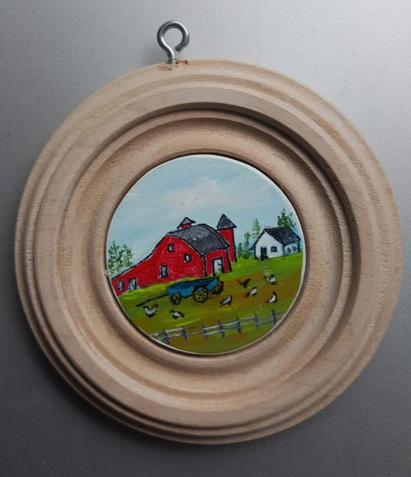 The Red Barn and Chickens