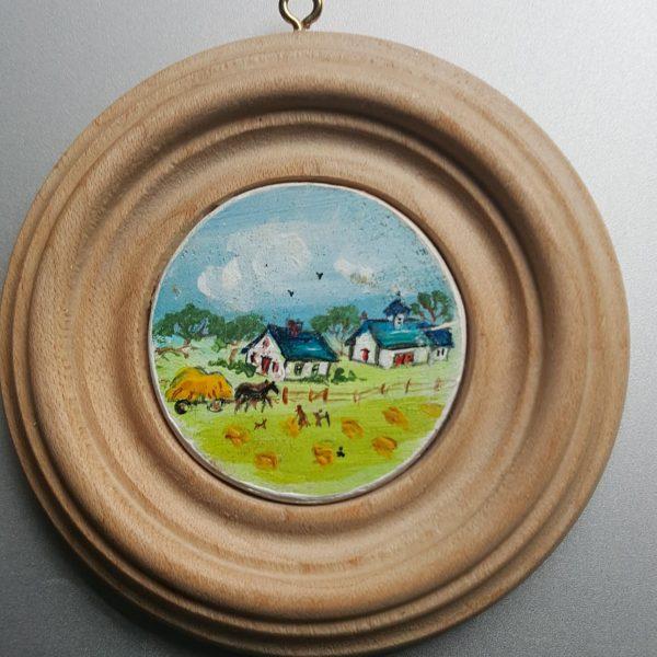 Late Summer Haying - Folk Art Miniature Painting