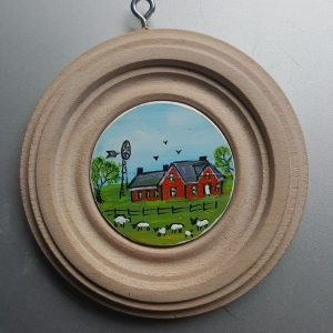 The Windmill and Sheep - Miniature Folk Art Painting